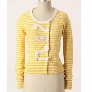 ANTHROPOLOGIE Sparrow Loose Lines Yellow Sweater M